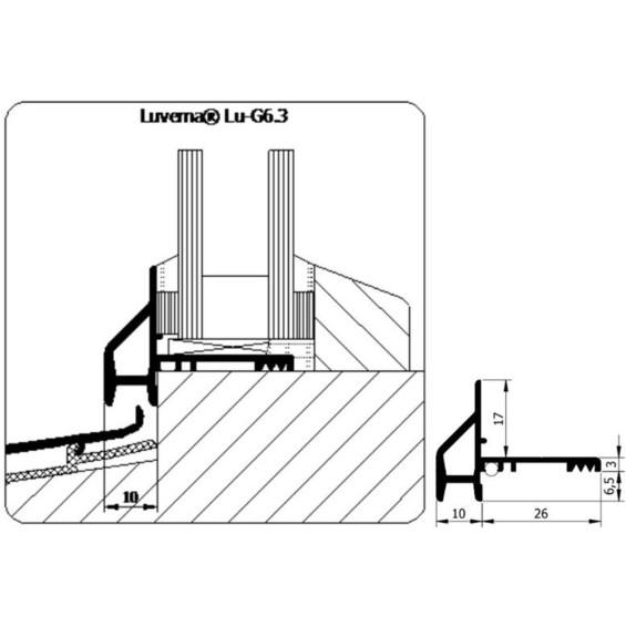 BEGLAZINGSPROFIEL G6.3 GEANODISEERD     5MTR 3E GENERATIE EXCL.VETER