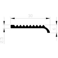 TRAPKANTPROFIEL ALUMINIUM MET NEUS 30X6X2 ONGEBOORD BRUTE