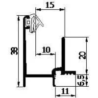 AANSLAGPROFIEL V3.3 GEANODISEERD 5MTR   INCL. AFDICHTING 3E GENERATIE