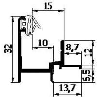 AANSLAGPROFIEL N2.3 GEANODISEERD 5MTR   INCL. AFDICHTING 3E GENERATIE